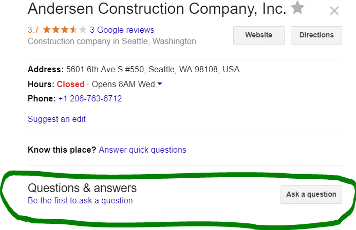 Google Questions and Answers feature