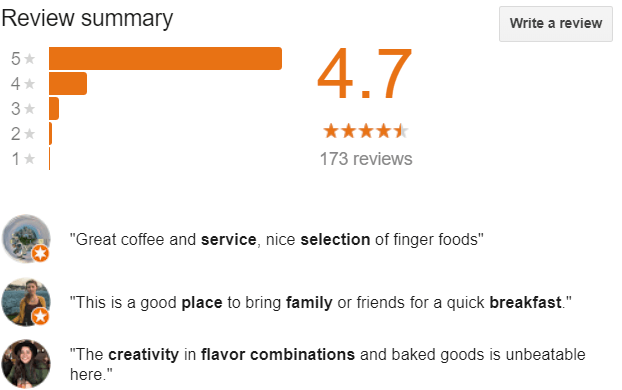 Google Review feature