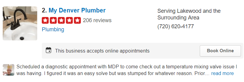 Sample Yelp Listing - My Denver Plumber