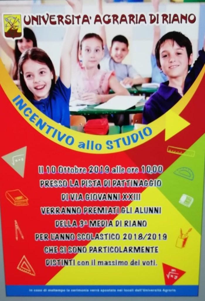 verranno premiati gli alunni della terza media di Riano per l'anno scolastico 2018/2019 che si sono particolarmente distinti con il massimo dei voti.