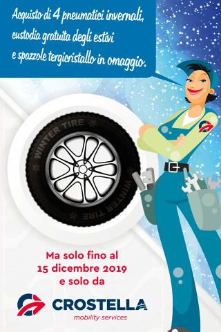 Crostella Mobility Service - Acquisto di 4 di pneumatici invernali: custodia gratuita degli estivi e spazzole tergicristallo in omaggio. Offerta Valida fino al 15 Dicembre 2019.