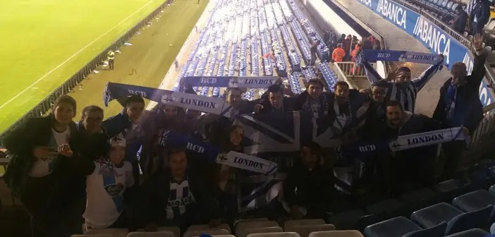 Peña RCD London en el estadio de Riazor en el Dépor-Celta.