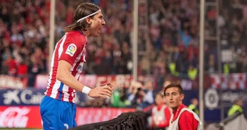 Filipe Luis en uno de sus últimos partidos como rojiblanco en el Vicente Calderón