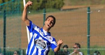 Romay celebra un gol en su primera etapa como jugador del Fabril