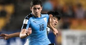 Fede Valverde con la selección de Uruguay