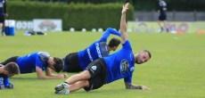 Guilherme ejercicio plancha en entrenamiento Vilalba del 8 de agosto 2017
