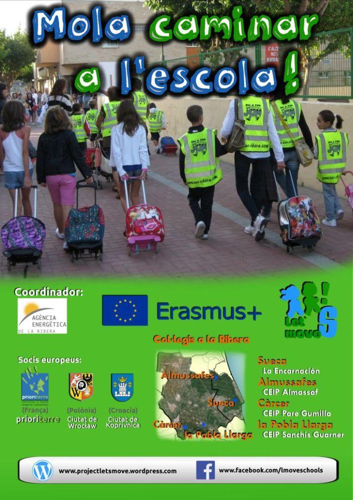 La implantació de camins escolars a la Ribera pretén recuperar l'hàbit saludable d'anar a peu a escola