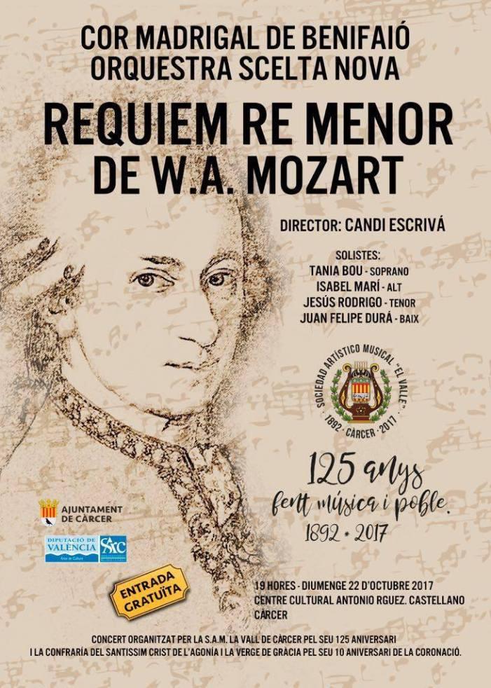 La banda de Càrcer conmemora su 125 aniversario con un réquiem a Mozart