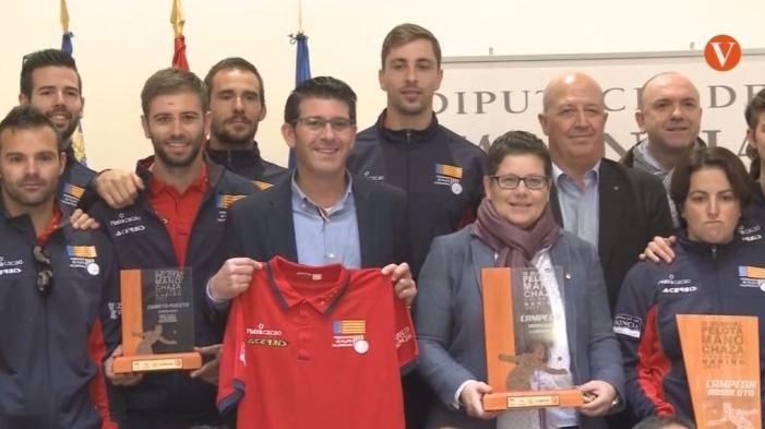 El President de Diputació ha rebut a la Selecció de Pilota Valenciana després de proclamar-se vencedora en el IX Campionat Mundial de Colòmbia