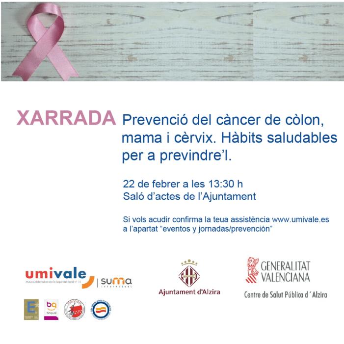 La Regidoria de Funció Pública i Organització de l'Ajuntament d'Alzira amb UMIVALE organitzen una jornada per a informar sobre el càncer de colon, mama i cèrvix