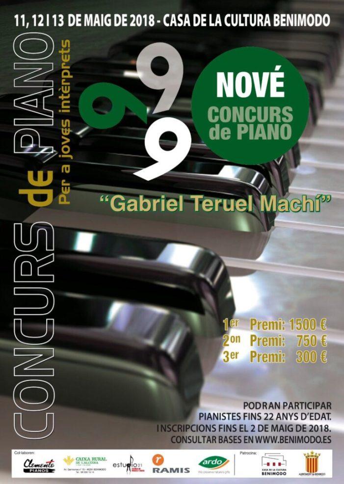 Benimodo convoca el IX Concurso de Piano para Jóvenes Intérpretes Gabriel Teruel Machí