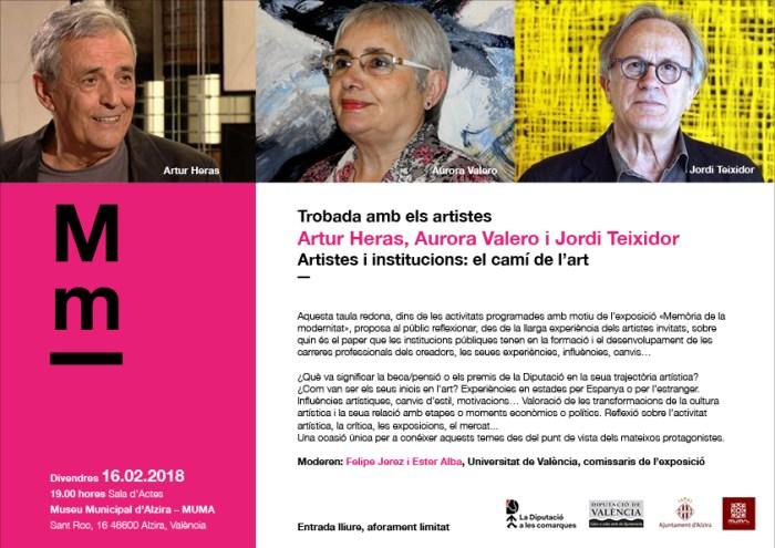 La Diputació organitza una trobada amb artistes a Alzira en el marc de l'exposició 'Memòria de la Modernitat'