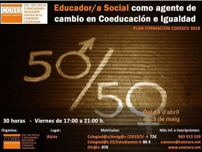 Alzira acull un curs de formació del Col•legi d'Educadors Socials del 13 d'abril al 25 de maig