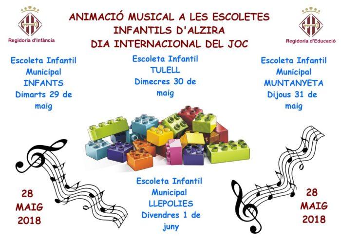 L'Ajuntament d'Alzira celebra el dia Internacional del Joc a les escoletes infantils d'Alzira