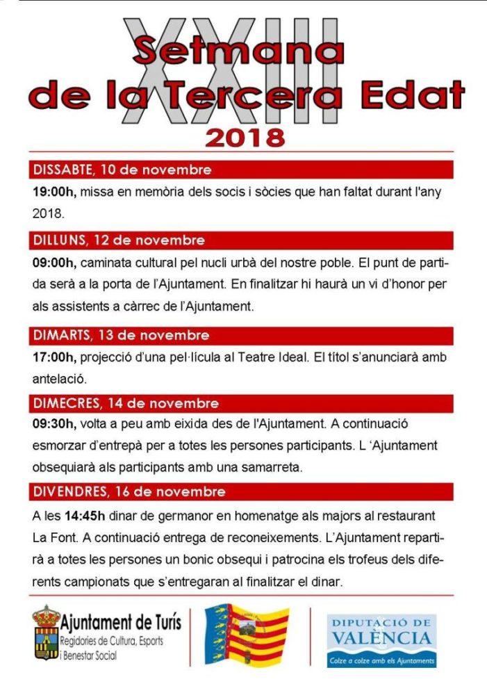La Regidoria de Benestar social de Turís organitza la XXIII Setmana de la Tercera Edat
