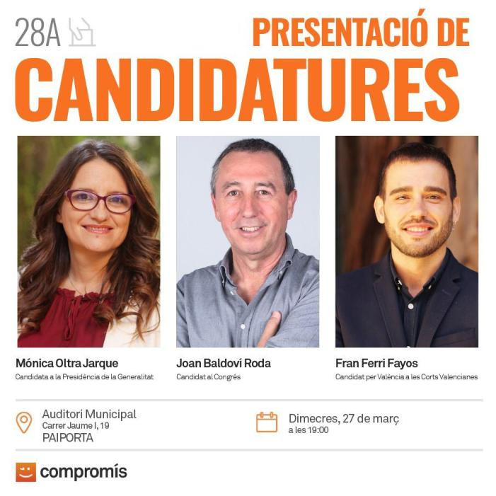 Oltra, Baldoví i Ferri presentaran candidatures a Paiporta