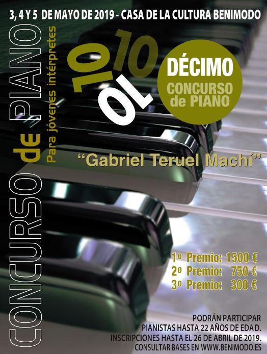 Benimodo convoca el X Concurs de Piano per a Joves Intèrprets Gabriel Teruel Machí