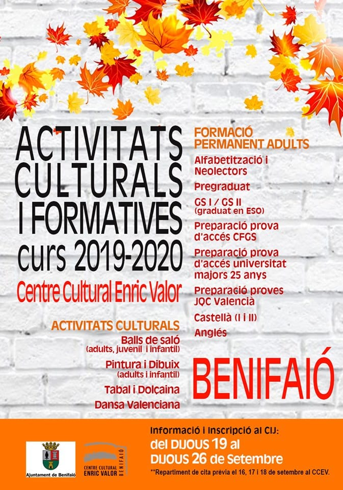 Ajuntament de Benifaió programa una àmplia oferta d'activitats culturals i formatives per al curs 2019/2020