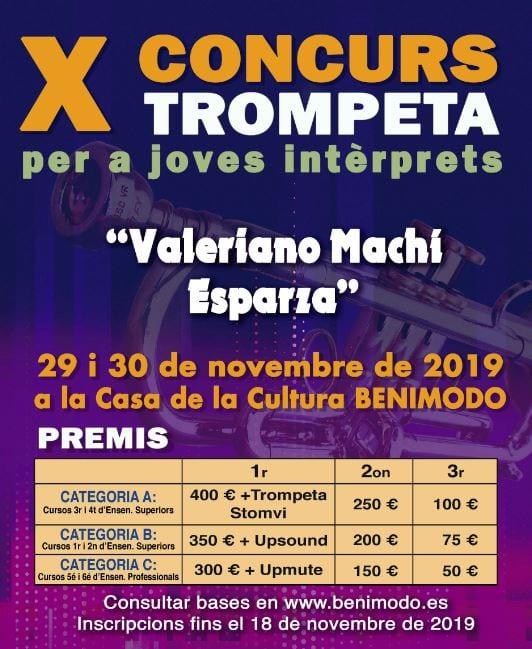 Benimodo repartirà quasi 2.000 euros en premis en la 10a Concurs de Trompeta per a Joves Intèrprets
