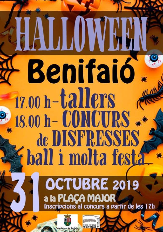 L'Ajuntament de Benifaió ofereix una vesprada de festa i diversió en l'Halloween 2019
