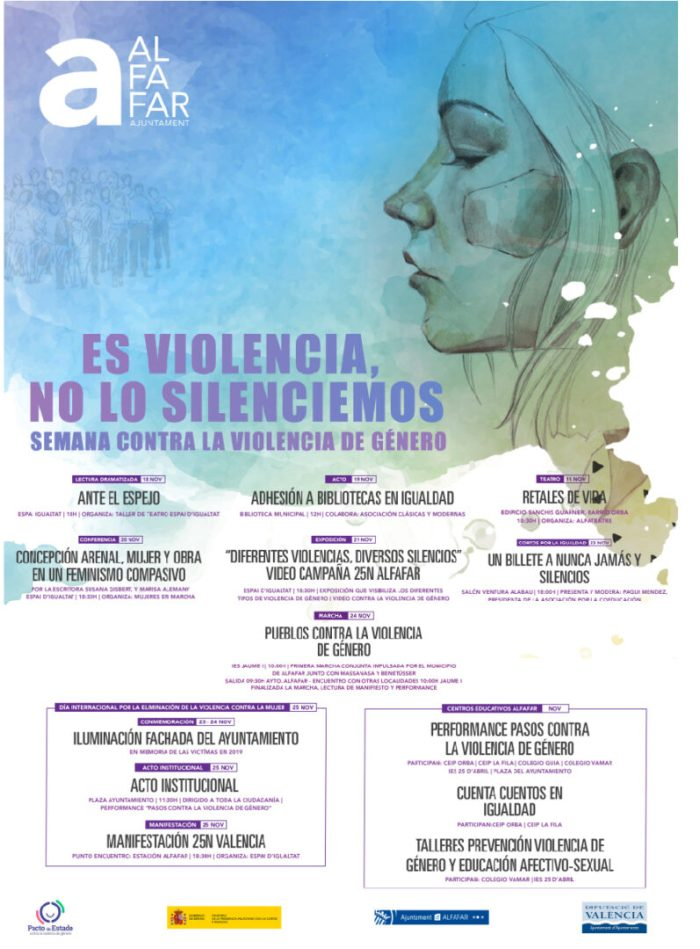 Alfafar se suma al Dia Internacional de l'Eliminació de la Violència contra la Dona