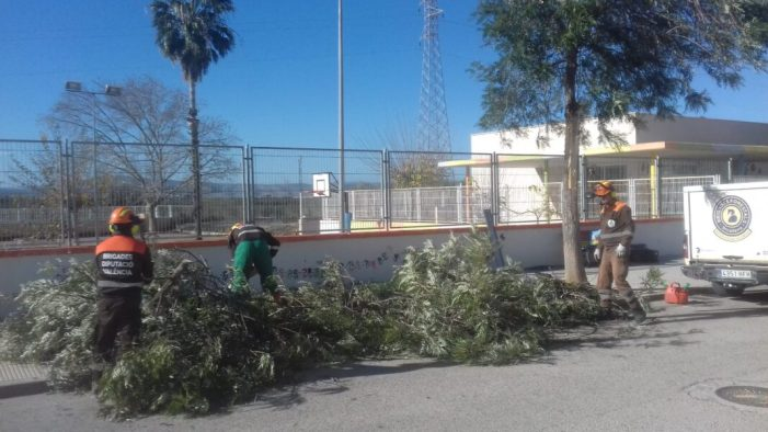 Les brigades de la Diputació realitzen una vintena d'actuacions d'urgència durant el pas del temporal Fabien