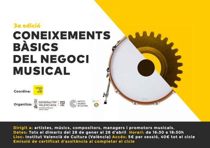L'Institut Valencià de Cultura organitza la tercera edició de 'Coneixements bàsics del negoci musical'