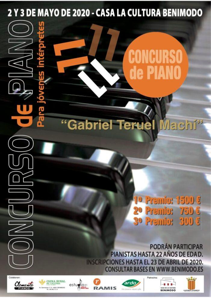 Benimodo convoca el seu onzé Concurs de Piano Per a Joves Intèrprets que homenatja a Gabriel Teruel Machí