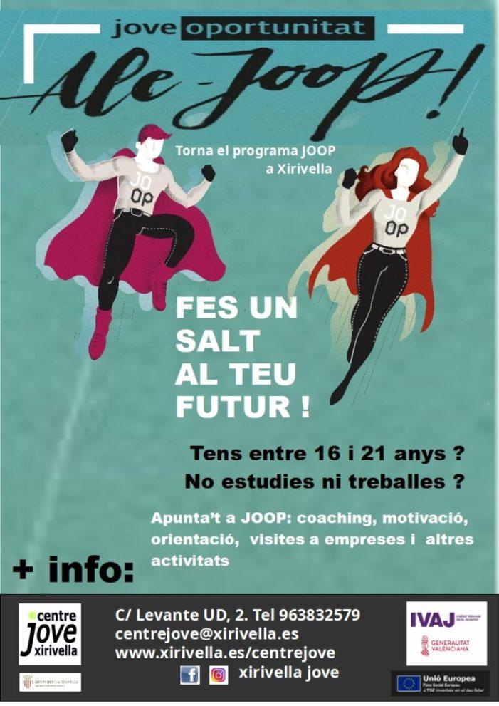 Xirivella obri el procés de selecció de joves per al programa JOOP 2020