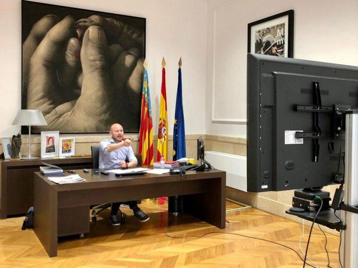Alcaldes i alcaldesses de La Ribera Alta coordinen amb el president de la Diputació la gestió davant la crisi de la COVID-19