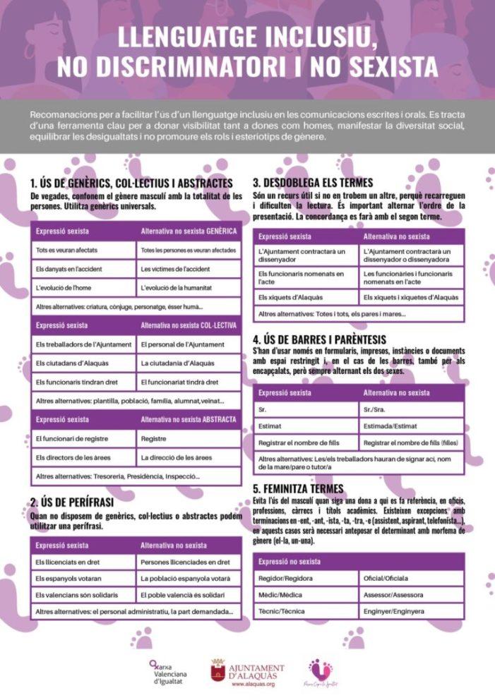 L'Ajuntament d'Alaquàs elabora una guia amb recomanacions per a un ús no sexista del llenguatge administratiu