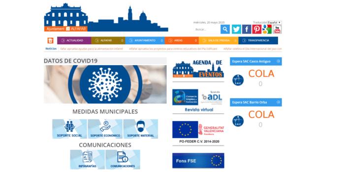 Alfafar habilita un apartat de transparència del covid-19 en el seu web municipal