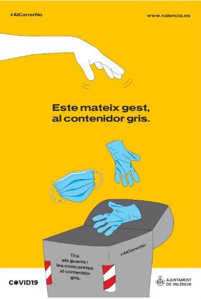L'Ajuntament de València  impulsa una campanya per conscienciar la població perquè deposite els guants i mascaretes utilitzats al contenidor gris