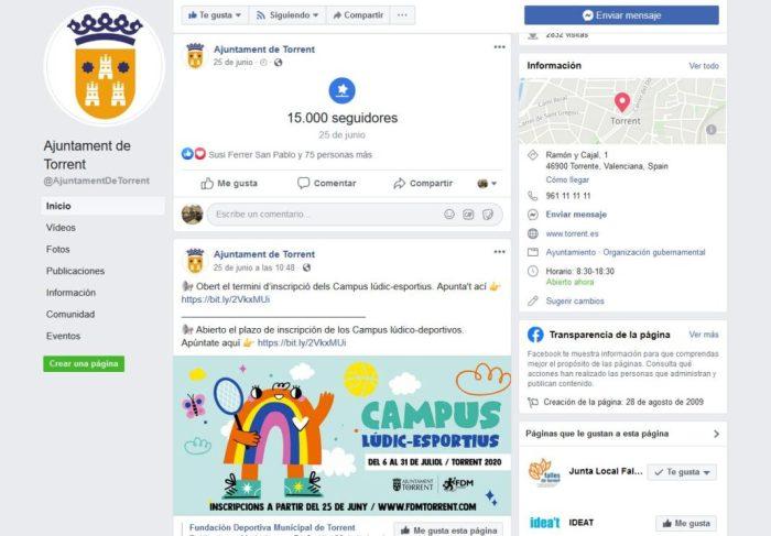 El nombre de seguidors de les xarxes socials de l'Ajuntament de Torrent es dispara durant l'estat d'alarma