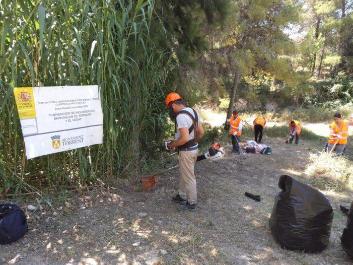 Les 24 persones contractades per a labors de prevenció i neteja contra incendis a Torrent avancen a bon ritme en El Vedat i barrancs