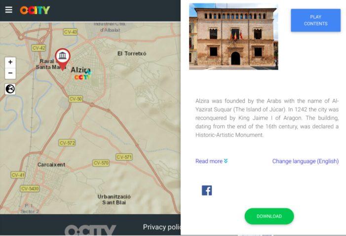Alzira forma part del projecte O-city.org, des d'on pot mostrar al món el seu patrimoni cultural i natural
