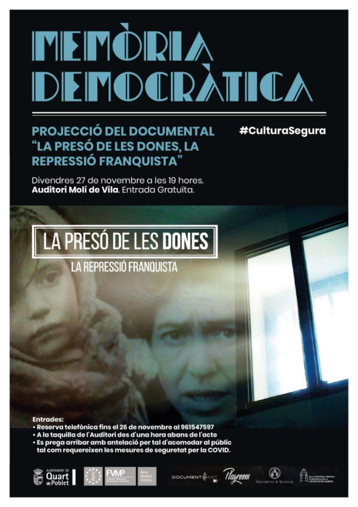 """Quart de Poblet projecta el documental de memòria democràtica """"La presó dels dónes. La repressió franquista"""""""