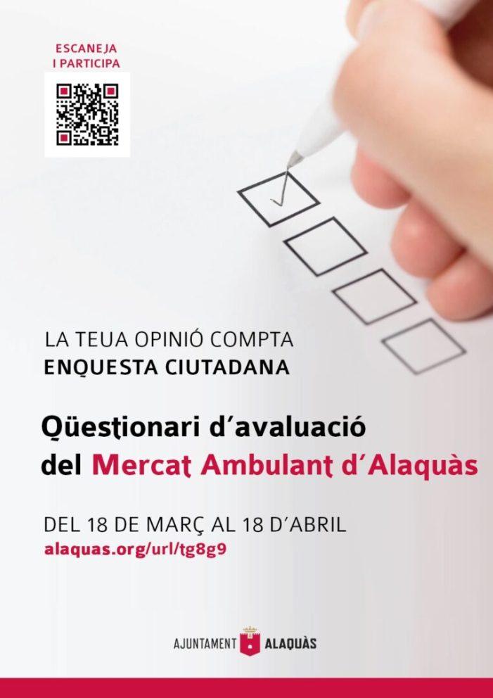 Alaquàs posa en marxa a partir de hui 18 de març i fins al 18 d'abril una enquesta en línia per tal de conèixer la satisfacció de la ciutadania