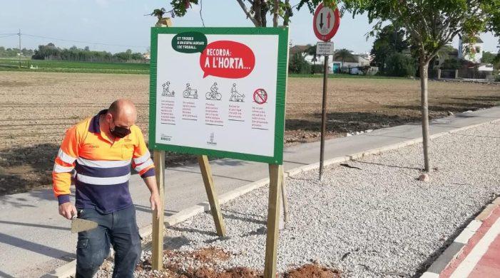 L'Ajuntament d'Alboraia senyalitza els seus espais agraris amb consells per a sensibilitzar a la població