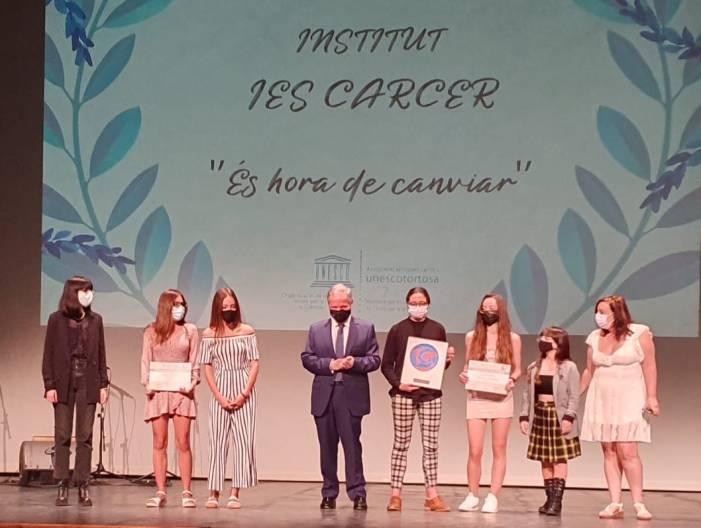 L'IES Càrcer guanya un dels guardons dels XIV Premis Federico Mayor Zaragoza
