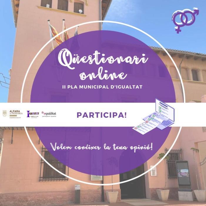L'ajuntament d'Alfara del Patriarca llança un qüestionari participatiu per elaborar el II Pla Municipal d'Igualtat