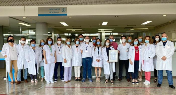 El Servei d'Admissió de l'Hospital d'Alzira obté la certificació de qualitat ISO 9001:2015