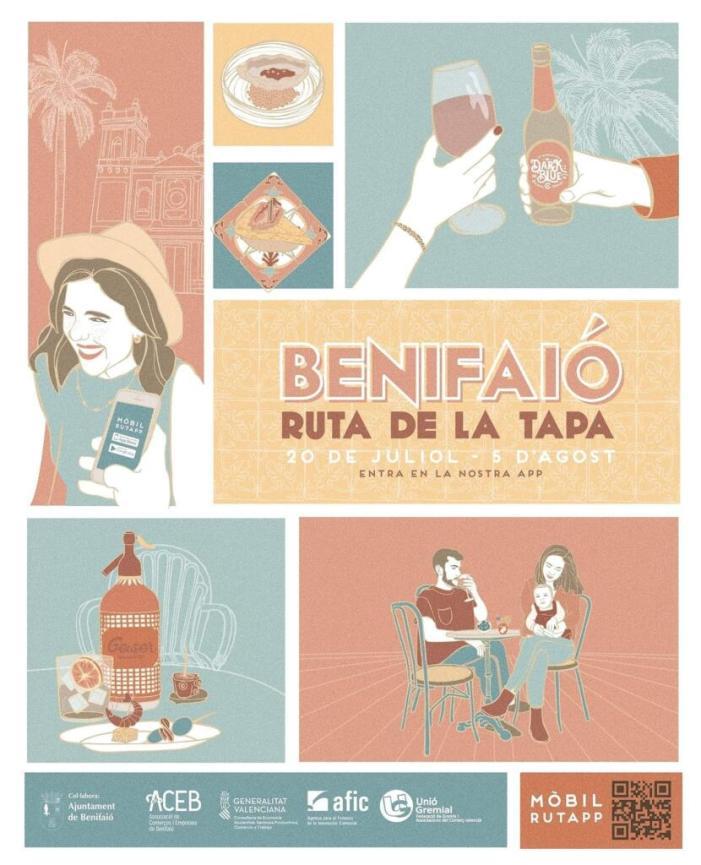 """Benifaió gaudirà a partir del 20 de juliol de la """"Ruta de la Tapa en Festes"""" de Benifaió amb votació a través d'una aplicació mòbil"""