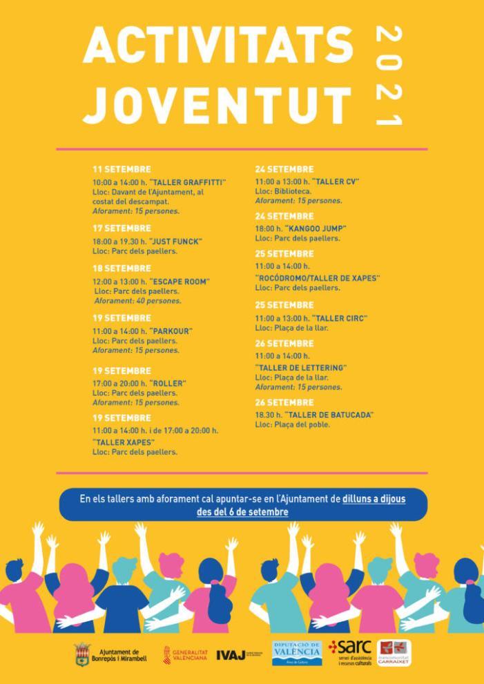 Bonrepòs i Mirambell celebrarà multitud d'activitats dirigides a la joventut de l'11 al 26 de setembre