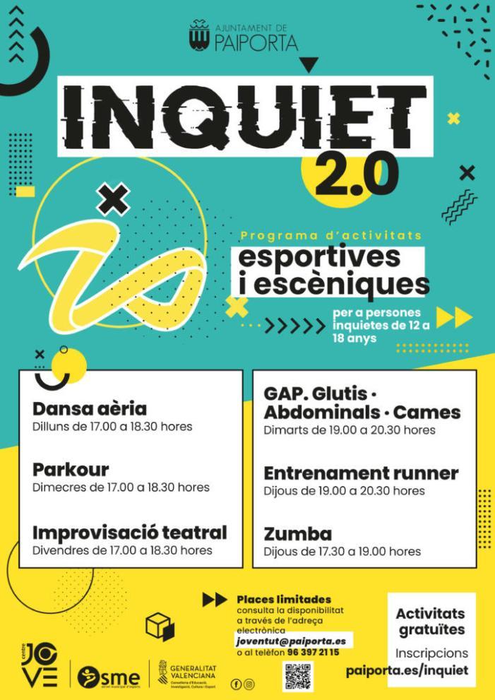 Activitats esportives i d'arts escèniques en Inquiet 2.0, la nova proposta del Centre Jove de Paiporta