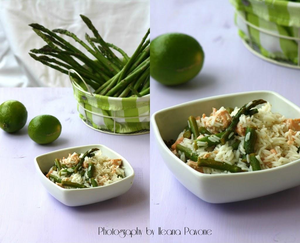 Insalata di riso basmati con salmone e asparagi al lime e zenzero ...