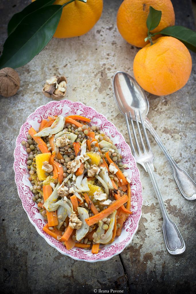 Lenticchie con verdure speziate, arancia e noci