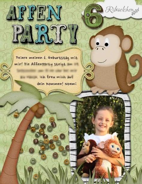 Einladung Affen - Dschungelparty