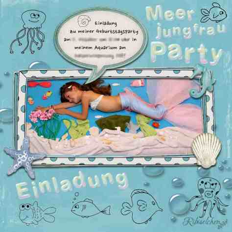 Meerjungfrauen Party Einladung