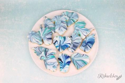 Marmorierte Royal Icing Kekse